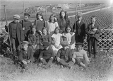 Whiteness school group in their vegetable plot