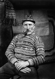 Johnnie Jamieson in patterned jumper and toorie