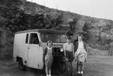 Children and three wheeled van